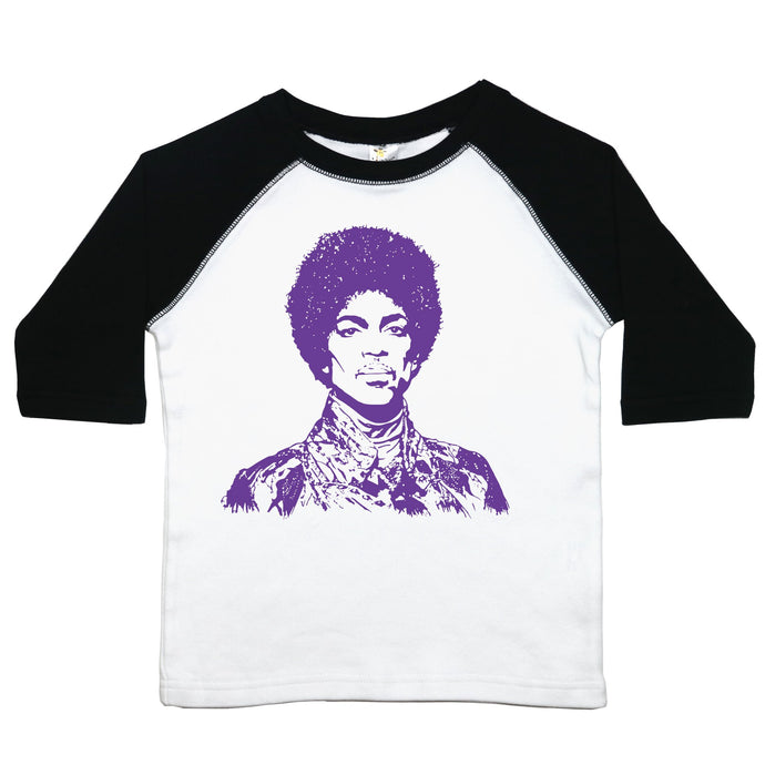 a toddler tee with a drawing of Prince in purple