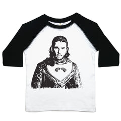a drawing of kit harrington as jon snow from Game of thrones on a toddler tee