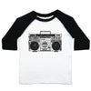a toddler tee with a drawing of a boombox