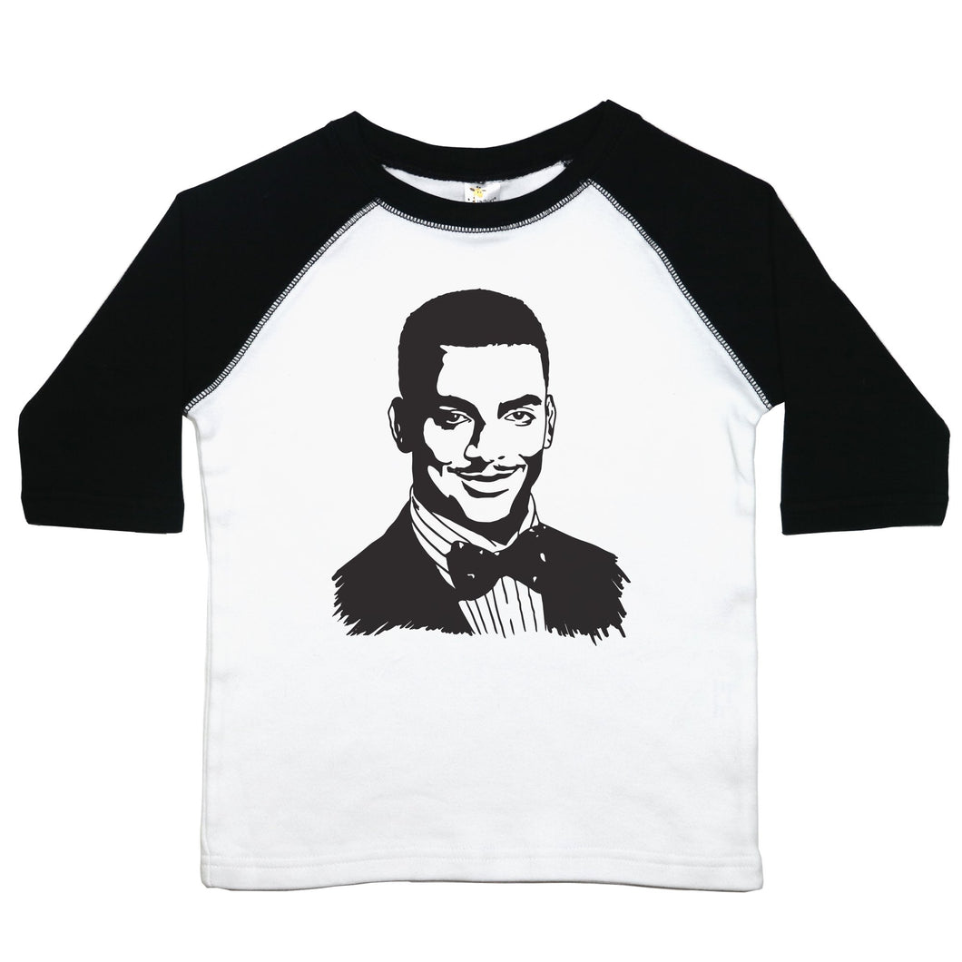 a drawing of Carlton from the Fresh Prince of Bel-Air on a baseball-style shirt for toddlers