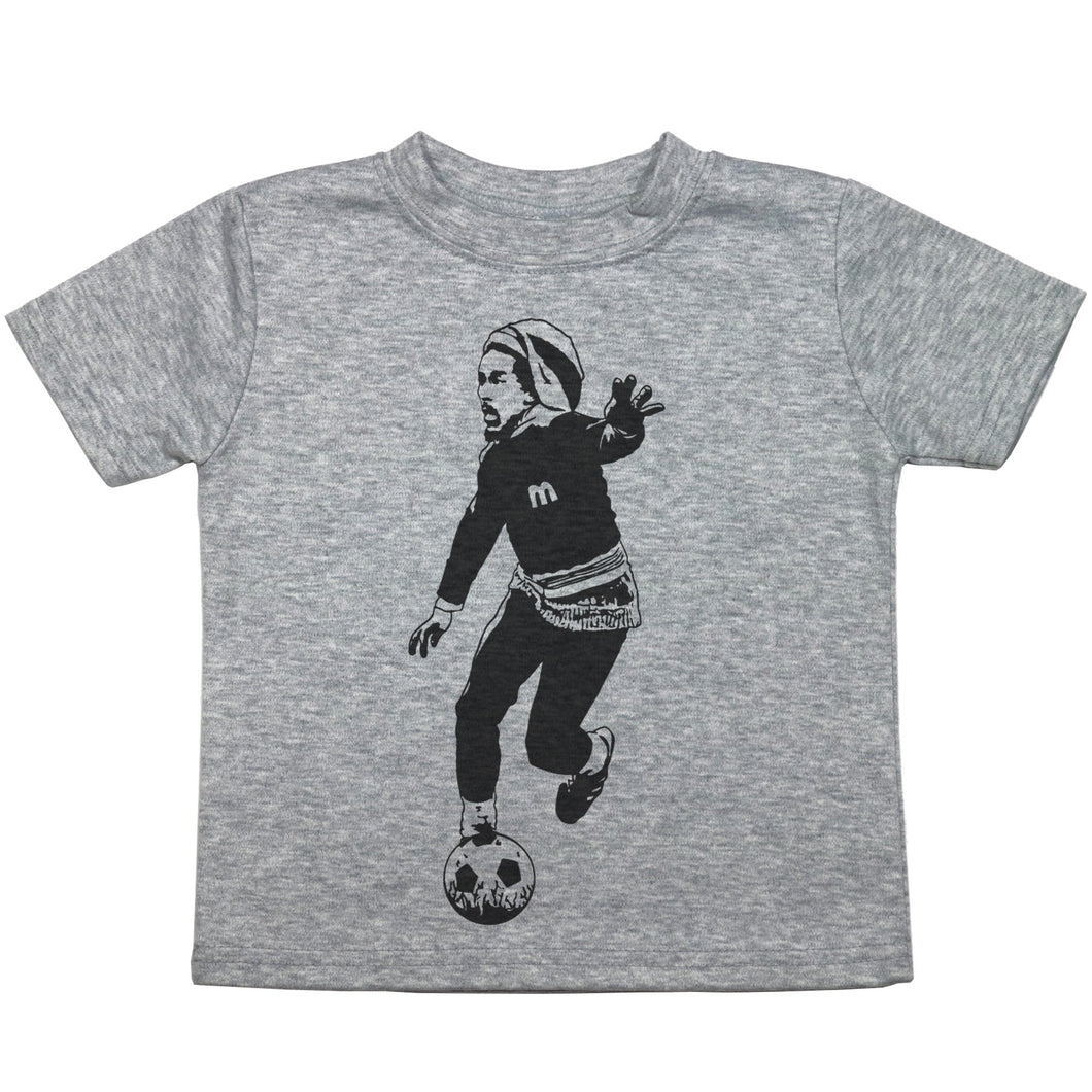 a drawing of bob marley playing soccer