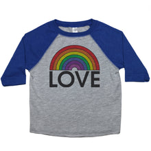 "Load image into Gallery viewer, a toddler tee with the text ""love"" below a rainbow"