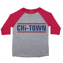 "Load image into Gallery viewer, a toddler tee with the text ""chi-town"" on it. the text is in blue, two lines above and below in red, the letter ""i"" is dotted with a star"