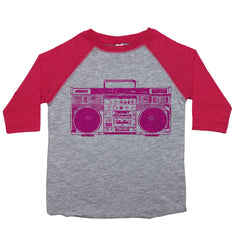 a toddler tee with a drawing of a pink boombox