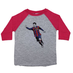 a drawing of Lionel Messi in a colored Argentina Futbol jersey on a baseball-style shirt for toddlers