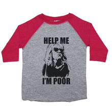 "Load image into Gallery viewer, A drawing of Annie from Bridesmaids with the text ""Help Me; I'm Poor"" on a baseball style t-shirt for toddlers"