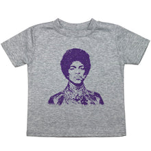 Load image into Gallery viewer, a toddler tee with a drawing of Prince in purple