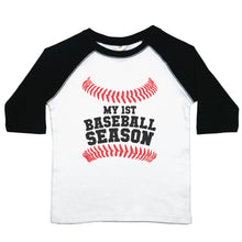 "Load image into Gallery viewer, A toddler raglan or baseball style tee with the words ""My 1st Baseball Season"" with baseball stitching above and below the text. The 3/4 sleeves are the first color listed with the second color in the middle"