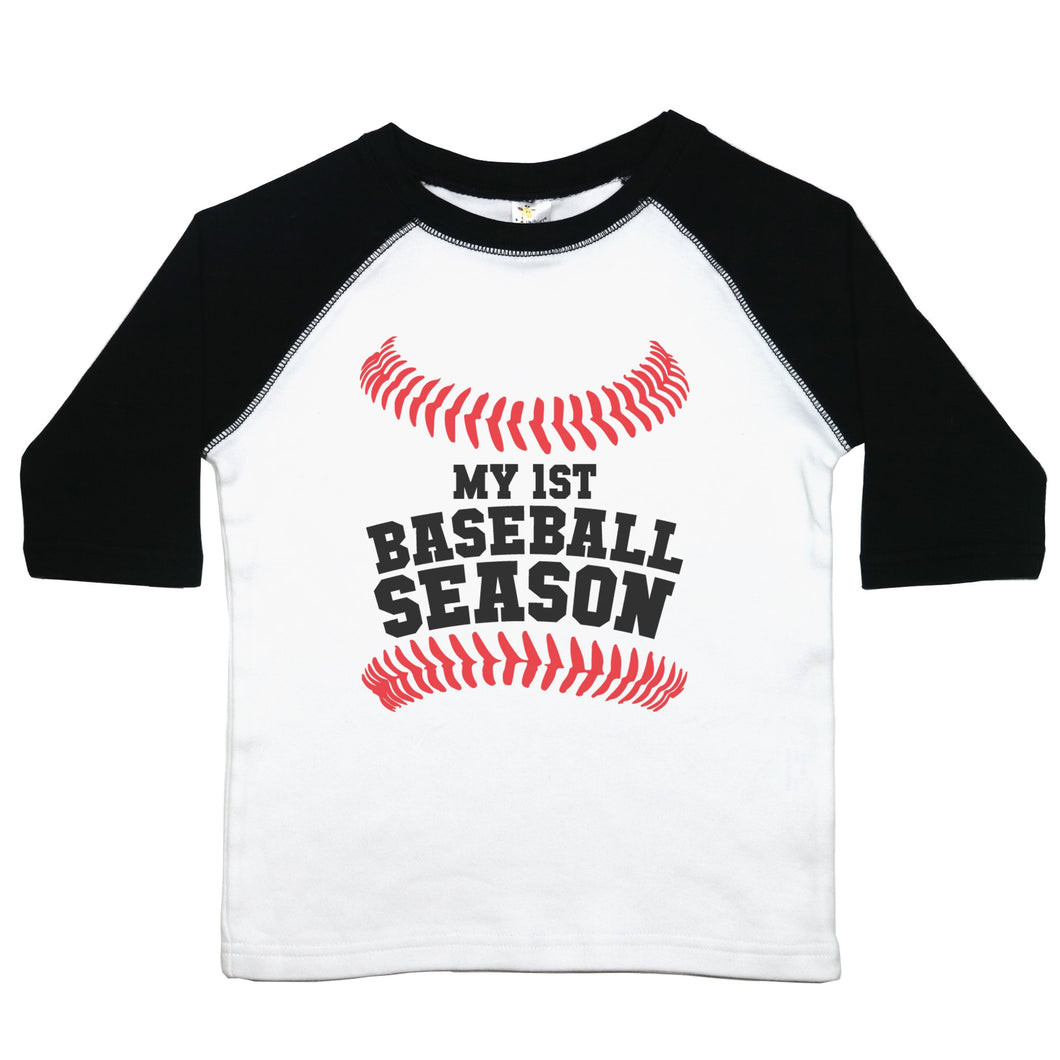 A toddler raglan or baseball style tee with the words