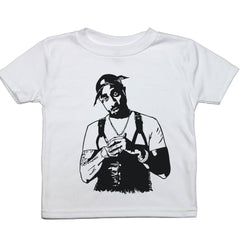 a drawing of tupac on a toddler tee