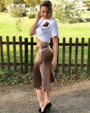 Bronze Pleated Midi Skirt
