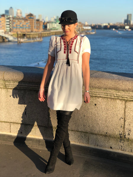White Tribal Smock Dress