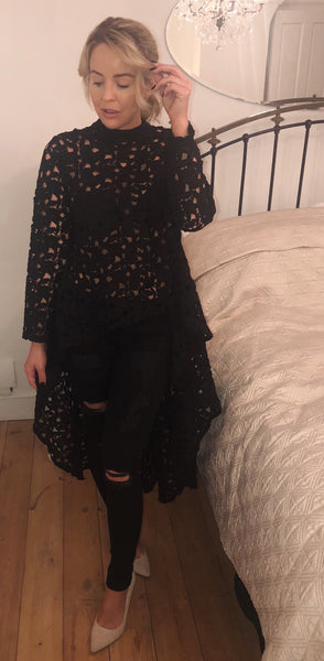 Black Lace High Low Top