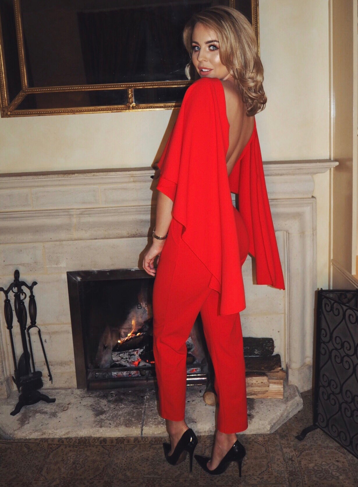 Red Drape Jumpsuit