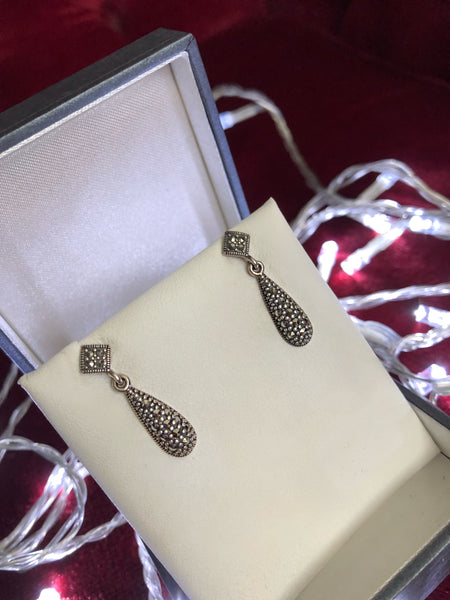 Marcasite Double Drop Earrings