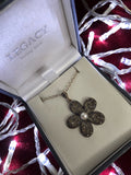 Flower Marcasite and Pearl Necklace
