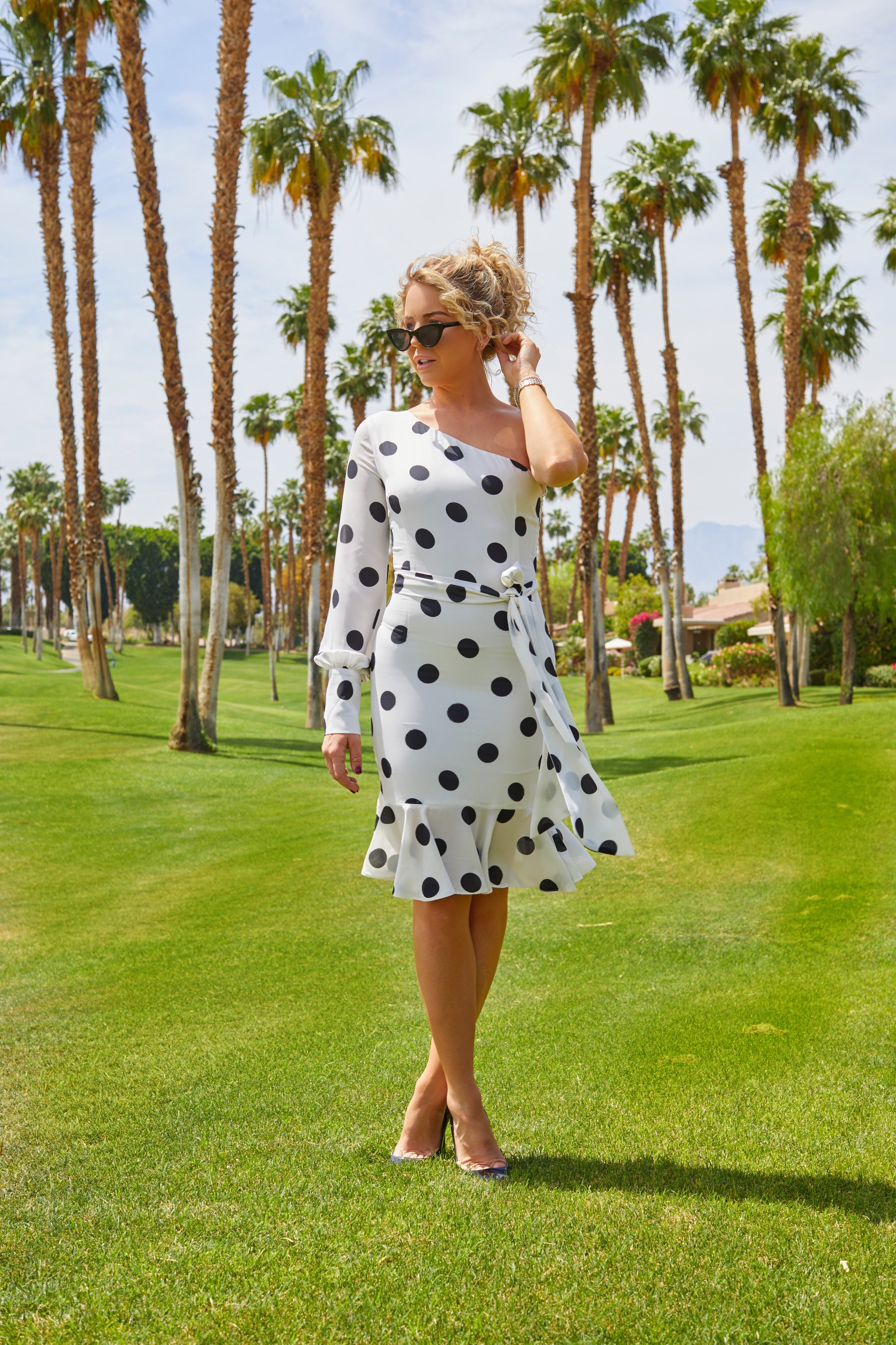 Polka Dot, One Shoulder Dress