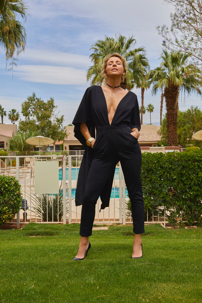 Plunging Cape Jumpsuit