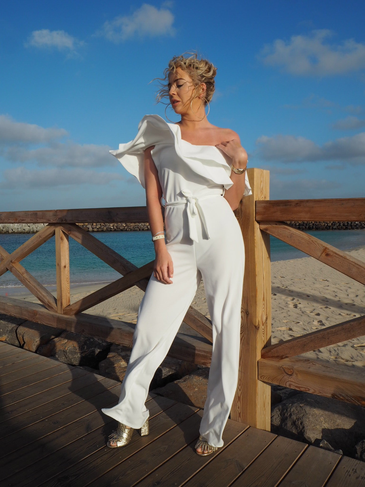 White Off The Shoulder Jumpsuit