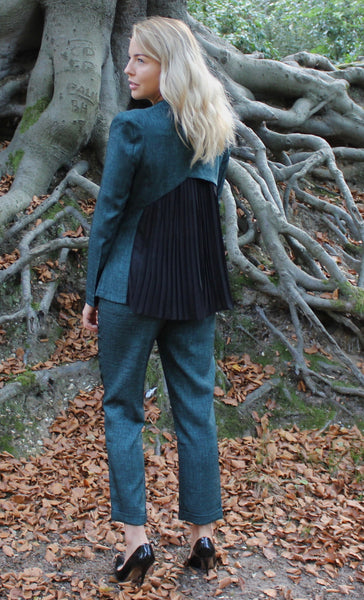 Green Pleated Back Blazer