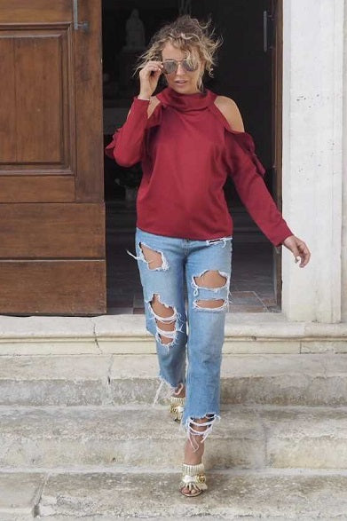 Burgundy Ruffled Top