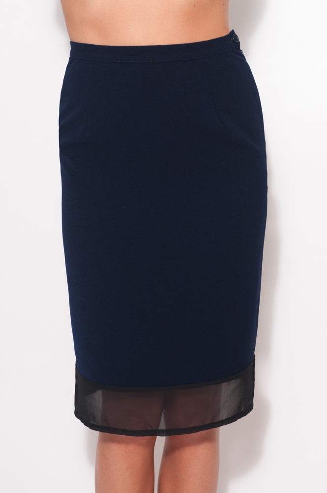 Navy Fitted Sheer Hem Skirt