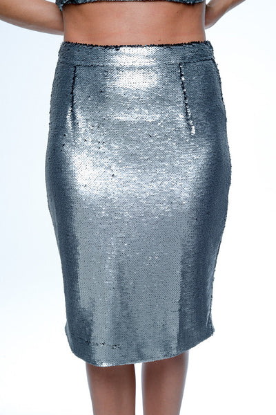 Reverse Silver Sequin Pencil Skirt