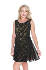 Black & Gold Lace Panel Dress