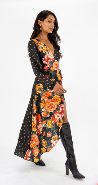 Multi print wrap dress