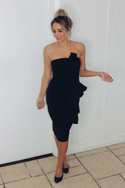 Black Fan Pleated Bandeau Dress