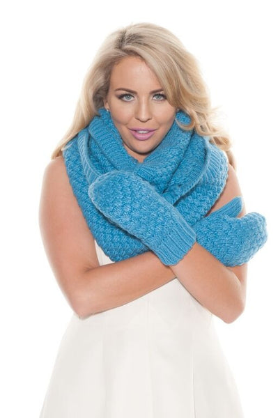 Chunky Blue Knit Mittens
