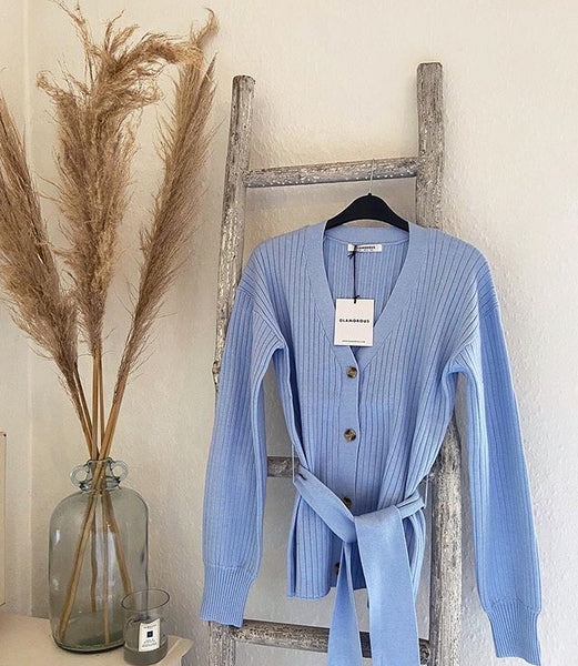 Baby blue knitted cardigan