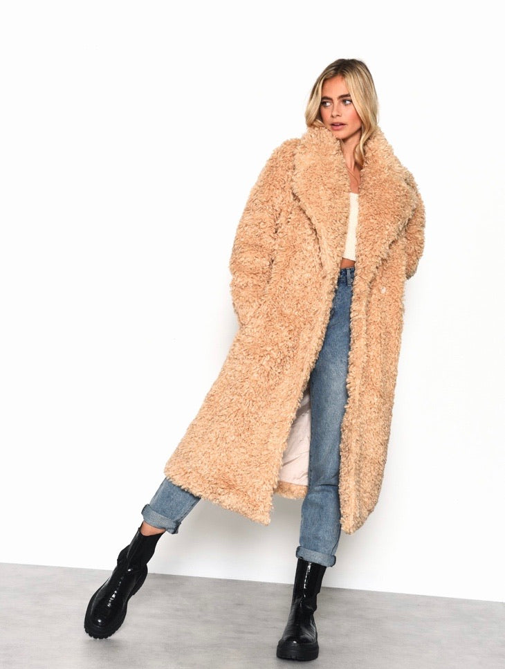 Toffee longline teddy coat