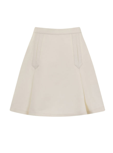Cream Flared A-Line Skirt
