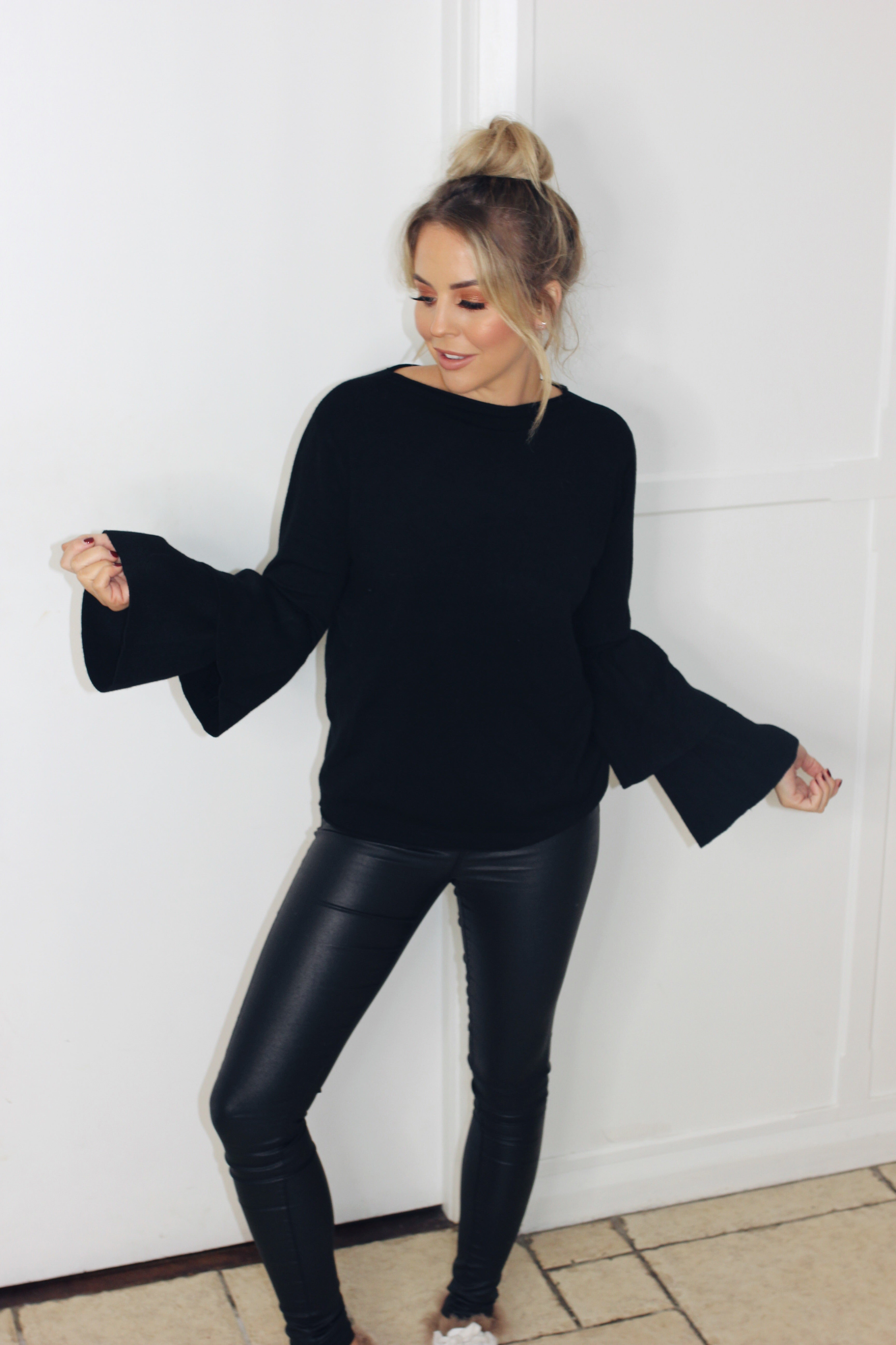 Black Two Tier Sleeve Knit
