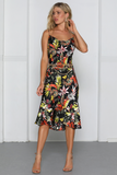 Tropical print slip dress