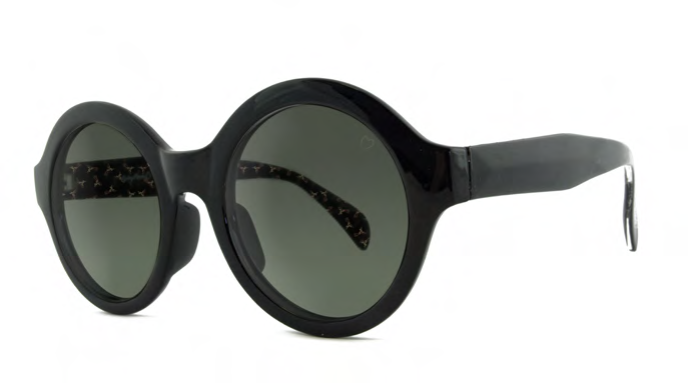 Black Retro Round Sunglasses