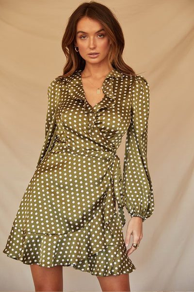 Green spot wrap dress