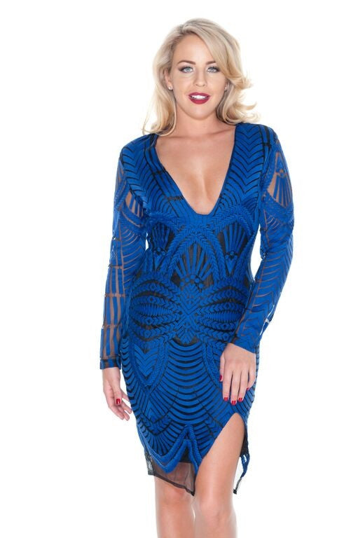 Royal Blue Embroidered Mesh Midi Dress