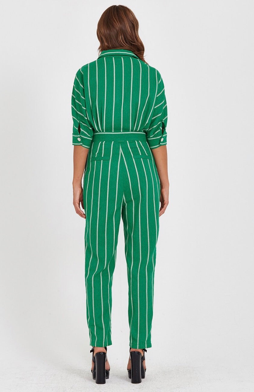 Green Pinstripe Jumpsuit