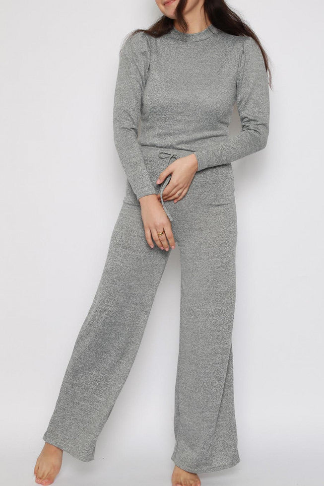 Grey Melange soft knit Co ord