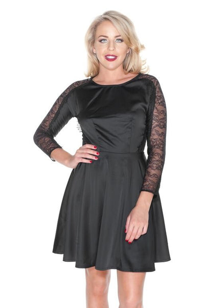 Black Exposed Lace Satin Skater