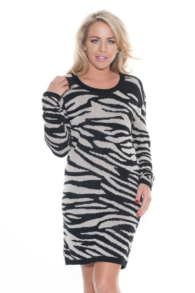 Zebra Knit Jumper Dress