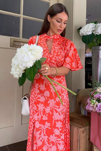 Orange floral twist neck midi dress