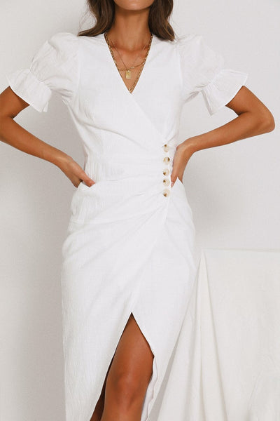 Cotton Button wrap dress