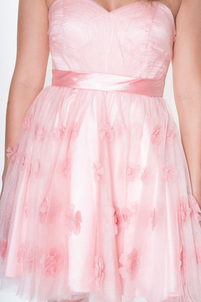 Dusky Pink Floral Prom Dress
