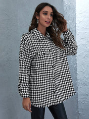 Houndstooth button up tweed Shacket
