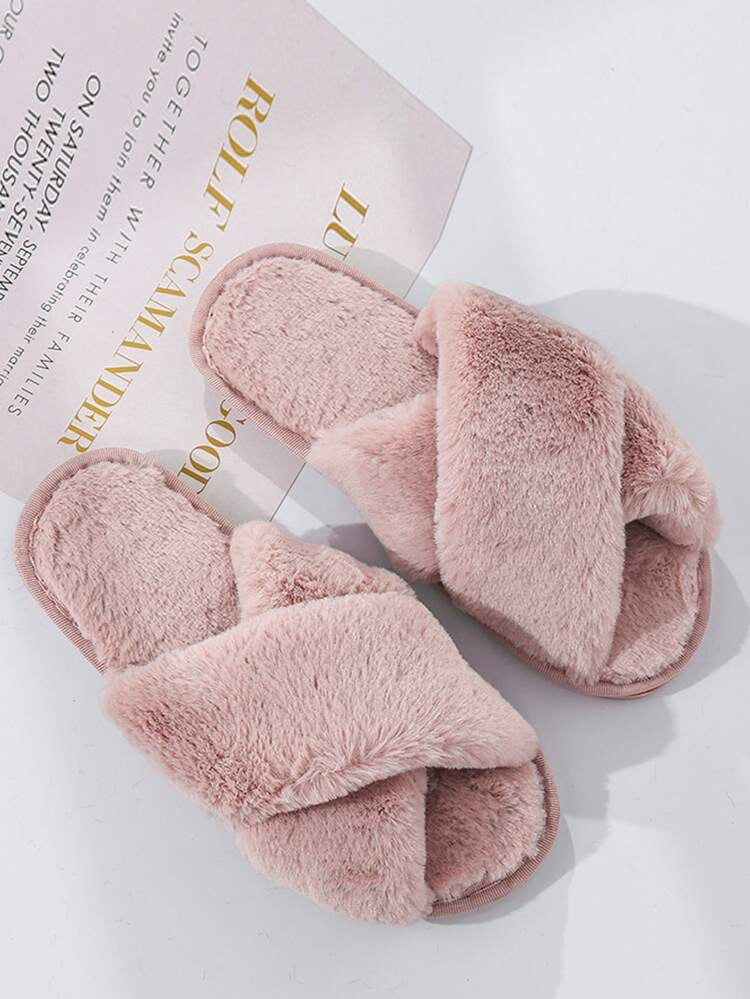 Lux Faux Fur slippers - pink
