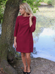 Burgundy Contrast Back Shift Dress