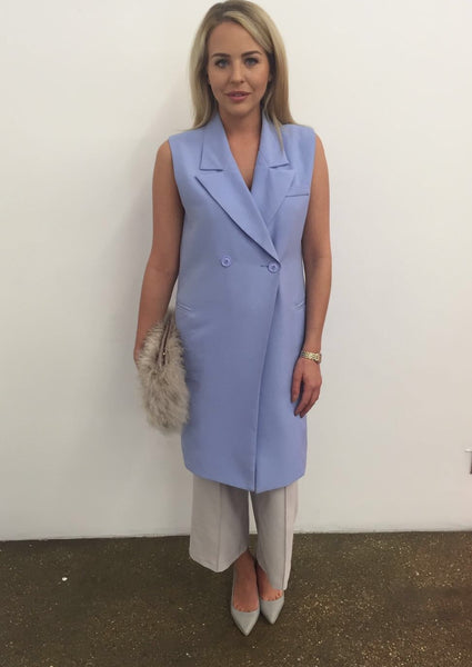 Blue Longline Sleeveless Jacket